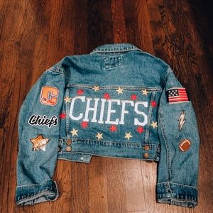 Kansas City Chiefs Customized Jean Jacket- Small